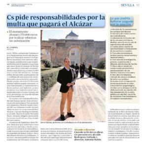 Ciudadanos pide responsabilidades por la multa que pagará el Alcázar (Prensa)