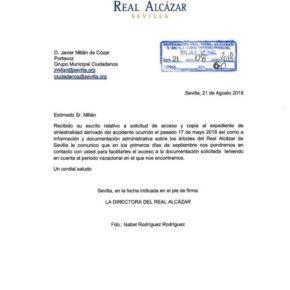 Millán (Cs) censura la falta de transparencia de Espadas y exige acceder al expediente sobre la caída de árboles en el Alcázar